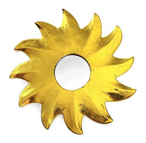 Feng Shui Spiegel Dekospiegel Sonne Ø 20 cm aus Holz gold bemalt, Wanddeko Wandsymbol Symbol Solarplexus Chakra, Chi Energie lenken, Energiespiegel
