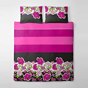 2 tlg. etérea Premium Baumwolle Bettwäsche Einzelbettgröße Clemens Pink Fuchsia Streifen Mohn Blumen - 135x200 cm, 80x80 cm