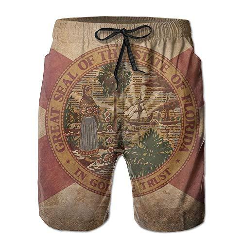 Pillow Socks Florida State Flag Art Mens Summer Fast Dry Beach Beach Shorts XX-Large Capezio Capris