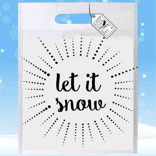 My Custom Style® Confezione risparmio da 25 Shoppers sublima in polietilene modello Natale - Unicorno Natalizio . Shopper con stampa sublimatica full print fronte/retro, formato 33x41cm. Un tocco d Let It Snow