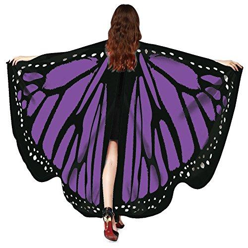 Berrose Mit armband Schmetterlingsflügel Schal Frauen Schmetterlings Flügel Damen Schmetterling Kostüm Schals Winterschal Kariert übergroßer Weicher Stoff Fee ()