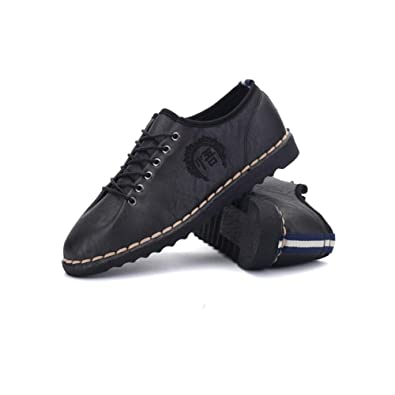 Shoes Mens Casual Shoes Leather Lace-up Shoes Comfort Driving Shoes (Color : Black Size : 39)