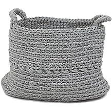 Naco comercio Basic gris escala ganchillo cesta, grande, color gris