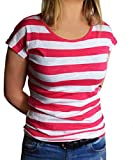 Search : Ladies 2 Pack UK Size 10 - 18 Red/White and Black/White Cotton Striped T-Shirts Tops
