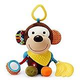 Newlemo Giocattoli di Pezza Bambino Massaggiagengive Bambini Peluche Scimmia Campana Doll su Carrozzina o Passeggino (0-2 anni)