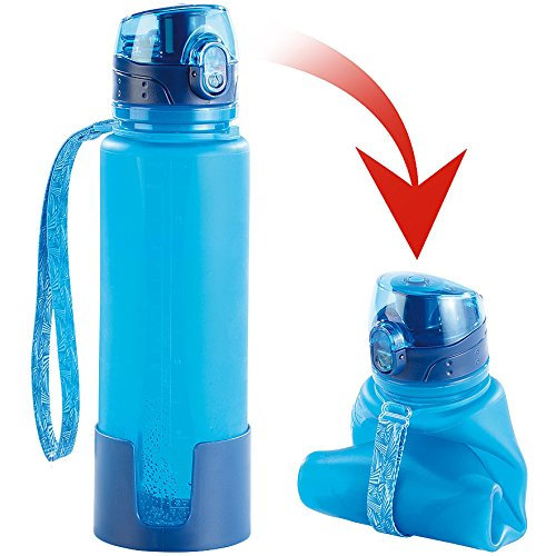 Semptec Urban Survival Technology Faltbare Flasche: Faltbare Silikon-Trinkflasche, 650 ml, lebensmittelecht, BPA-frei (Flexible Trinkflasche)