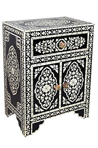 Orientalischer Holz Nachttisch Dilhan Schwarz Weiß 60cm Hoch | Orient Vintage Nachtkommode Orientalisch Handbemalt |...