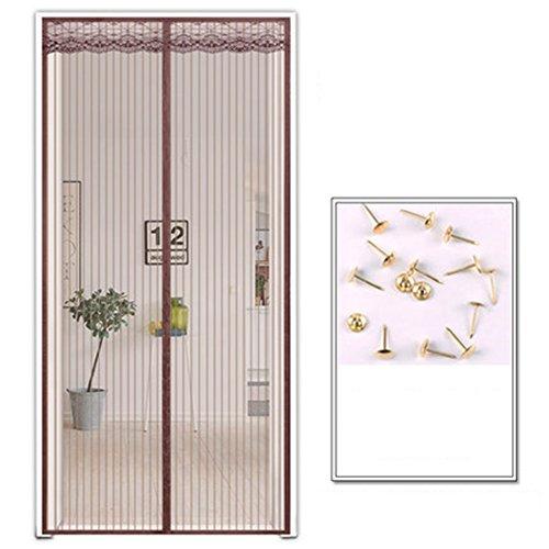 Magnet fliegengitter tür Vorhang anti-insekten, Stripe Türen mit magneten bildschirm Mesh Vorhang Schließt automatisch Insektenschutz Lässt frische luft rein Magischer vorhang-Kaffee 90 x 200cm