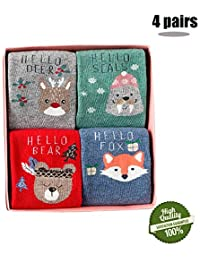 Morbuy Calcetines de Navidad Para Bebé Niños Mujer, 3 pares Lindo Algodón Animal Patrón Para
