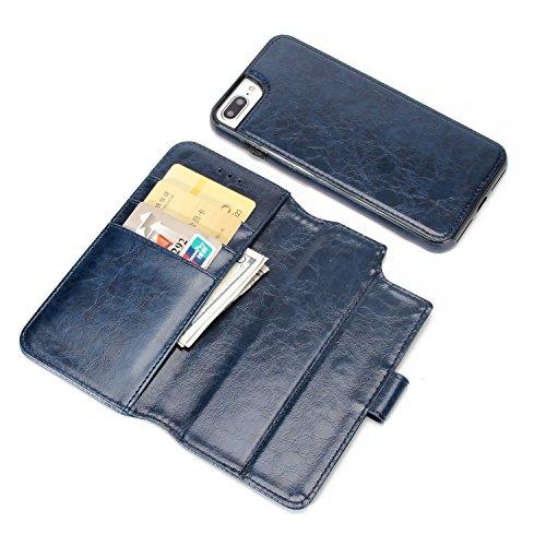 BCIT iPhone 7 Plus Custodia - [Staccabile funzione] Portafoglio 2 in 1 PU di cuoio pelle con supporto carte di credito in Piedi caso Case per iPhone 7 Plus - Blu Blu
