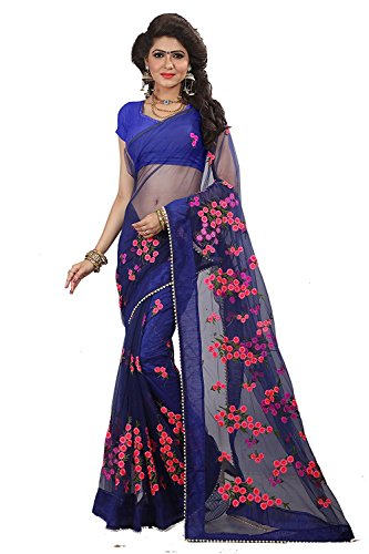High Glitz Fashion Women\'s Blue Color Party Wear Fancy Mono Net Embroidery Work Sari With Blouse Piece