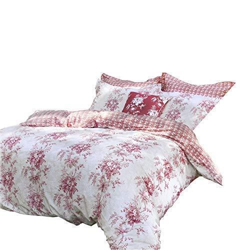 Choux & Roses Charlotte Rouge 200TC 100% Cotton Simple 4 Pièces Ensemble de Literie