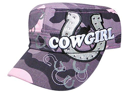 Kronenhut NYC Strass Cowgirl Bling Cadet Pink Camo Hut Cowgirl Cadet Cap