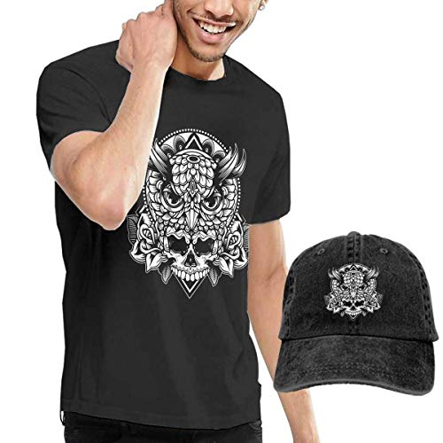 Baostic Herren Kurzarmshirt Owl Skull Fashion Men's T-Shirt and Hats Youth & Adult T-Shirts -