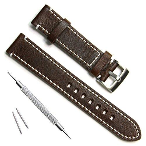 Grün Oliv 19mm Handgefertigt Vintage Rindsleder Leder Uhrenarmband/Armbanduhr Band (White Stitch/Kaffee)