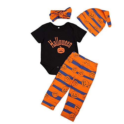 Unisex Säugling Jungen Mädchen Halloween Strampler Hosen Hut Stirnband Kleidung Set Kleinkind Kürbis Gedruckt 4 stücke Kleidung