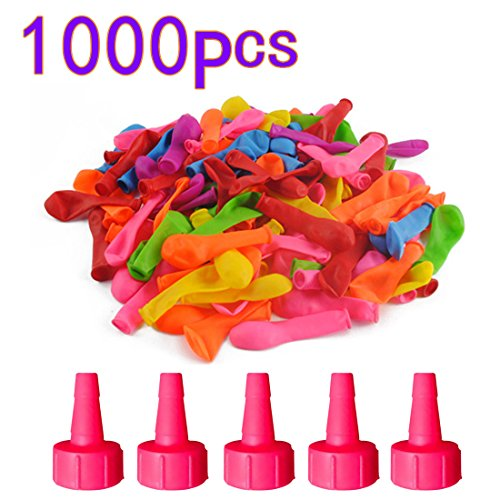 UOPKJL Water Ballons Wasserballons Wasser Luftballons Latex Ballons Kit Wasser Spielzeug für Kinder Einschließlich 1000 Ballons, 5 Kleiner Trichter, Farbe zufällig