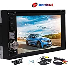 C¨¢mara inal¨¢mbrica! DIN doble Nuevo Android 6.0 est¨¦reo del coche 6.2 pulgadas Quad-core de navegaci¨®n GPS Headuni Soporte CD DVD reproductor de v¨ªdeo 1080P Wifi Dongle USB / SD de FM / AM / RDS Bluetooth Autoradio SWC Espejo Dual Link-cam-OBD