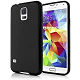 NALIA Handyhülle für Samsung Galaxy S5 Mini, Hülle Ultra-Slim Silikon Case, Dünne Crystal Schutzhülle, Etui Handy-Tasche Back-Cover Bumper, TPU Gummihülle für Samsung S5 Mini Phone - Schwarz