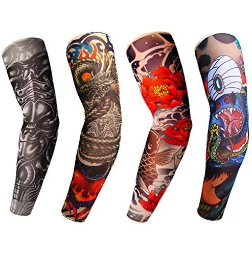 LL-COEUR 4 Stück Mode Nylon Tattoo Ärmel Sleeves Arm Temporäre für Sonne absorbiert schweiß Stück unisex dünne (5) (Halloween-party Die Für Dress-code)