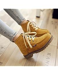 &ZHOU Botas otoño y del invierno botas cortas mujeres adultas 'cargadores de Martin Knight botas a35 , black cotton , 42
