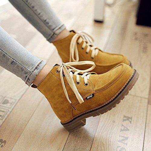 &ZHOU femmina adulti 'Boots autunno e l'inverno stivali brevi Martin stivali Cavaliere stivali A35 black cotton