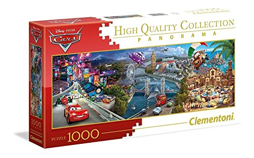 Clementoni- disney panorama collection cars puzzle, 1000 pezzi, 39446