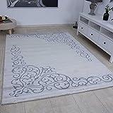 Eleganter Teppich in Grau Silber Kunstvolle Ornamente Hochwertig Hoch Tief Strukten Meliert Heatset 160x230 cm