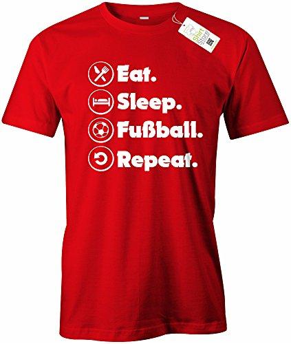 EAT SLEEP FUSSBALL REPEAT - HERREN - T-SHIRT Rot