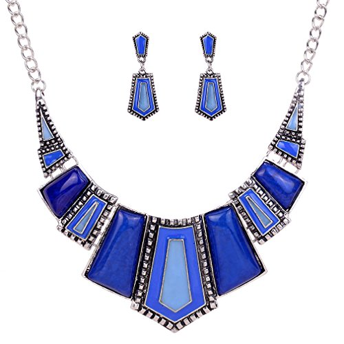 Yazilind Vintage Ethnic Blue Tibetan Silver Irregular Rhinestone Bib Collar Earrings Necklace Jewelry Set