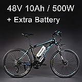 """La bicicleta eléctrica de la aleación de aluminio de la batería de litio de 26 """"48V 500W, la bicicleta eléctrica de 27 velocidades, MTB / la bici de montaña, adopta los frenos de disco del aceite (10Ah Azul negro Batería Plus)"""