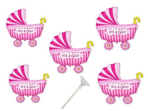 5 Folienballon mit Haltestab Baby Party Mädchen Baby Shower Luftballon Pullerparty