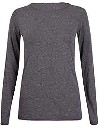 New Ladies Plain Stretch Fit Long Sleeve Womens T-Shirt Round Neck Basic Top Dark Grey Size 8 - 10