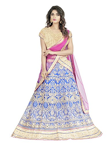 Oomph! Women\'s Net Bridal Lehenga Choli/Semi Stitched Lehenga Choli Party WearGhagra Choli Weddings, Marriage, Royal Blue