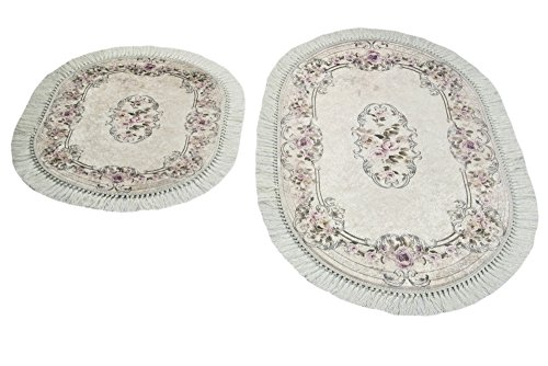 Badematte WC Teppich Set 2 teilig mit Blumen in Braun Größe 60x100 cm + 50x60 cm Oval