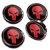 Skino 4 x 60mm Coprimozzi Copricerchi Tappi Ruote Punisher Skull Teschio Rosso 3D Gel Adesivi Resinati Stickers Auto Logo Silicone Autoadesivo Stemma Adesivo C 3