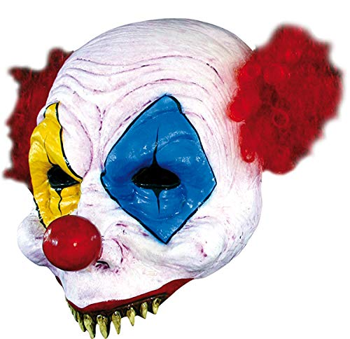 Scary Kostüm Kinder Jester Evil - Gus the Evil Clown Open Half Head Mask Scary Latex Halloween Mask