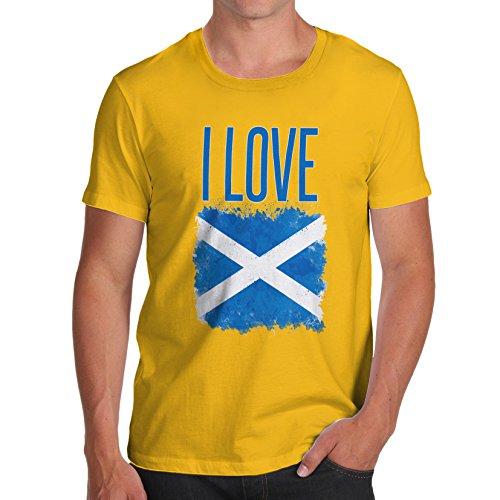 Herren I Love Scotland T-Shirt Gelb