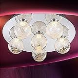 MIA Light LED Deckenleuchte 6-flammig aus Glaskugeln klar mit Struktur in chrom