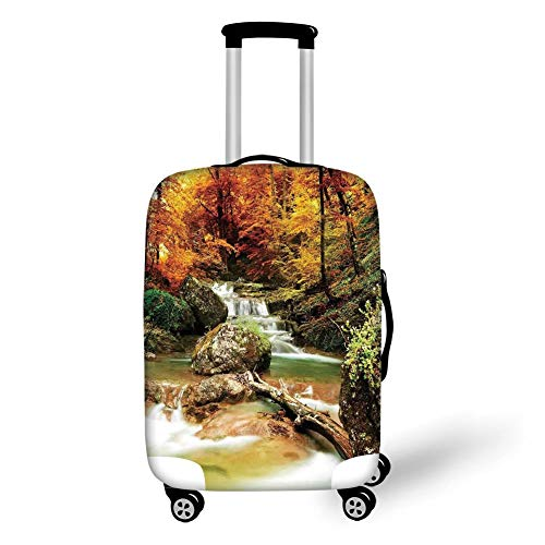 Travel Luggage Cover Suitcase Protector,Waterfall,Autumn Seasonal Woodland Creek Trees Foliage Rocks in Forest Image,Orange Green Light Brown,for Travel L
