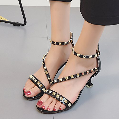 RUGAI-UE Tacchi Alti sandali rivetti Estate Moda Sexy Calzature Donna Black