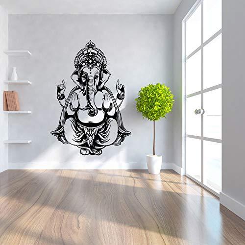 guijiumai DIY Vinyl Ganesh Gott wie Yoga, Forman Tee Luo Gan Nizar Wandaufkleber Wohnzimmer Schmuck Kunst Wandaufkleber schwarz 82x57 cm - Regenbogen-herz-tee