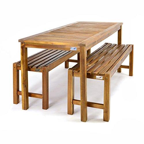 Divero Set 2 Bänke + 1 Tisch in Akazienholz - 3