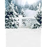 A.Monamour Scenic Winter White Snow Trees With Rimes Hoarfrost Christmas Holiday Mural Party Wall Decorations Vinyl Fabric Photography Backdrops 5x7ft - Christmas Snow Winter