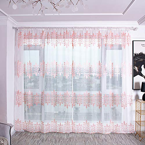 Modely Türvorhang Tüll Gardine Tür Fenstervorhang Drapieren Panel Sheer Schal Volants Prinzessin Vorhänge Gardinen Verdunklungsvorhang für Schlafzimmer, 100x200cm, 2er-Set (Sheer Panel-vorhang Mit Volant)