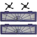 FBSHOP(TM)Kit de repuesto para el filtro Neato Botvac alto rendimiento y cepillo lateral - Incluye filtro 2 de alto rendimiento y 2 Cepillo lateral para la serie Botvac