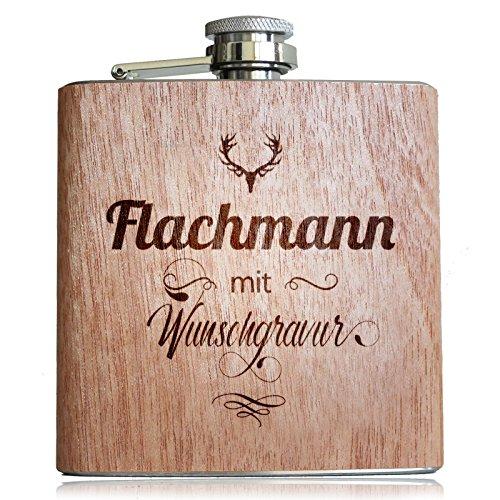 Holz Flachmann mit Wunsch Gravur! Mit eigenem Namen, Text, Logo, Vereine, Firmen