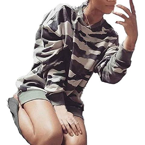 Culater® mujeres Nueva ocasionales flojas de manga larga camuflaje sudadera tapas largas de la camisa (S, Camuflaje)