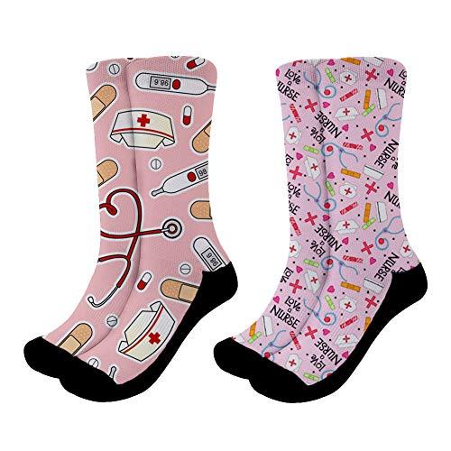 Nopersonality Kuschel Socken, Baumwolle Sportsocken Bettsocken Damen Warme Socken Crew Socks Süß Funky Nurse Muster 2-er Pack Größe 38-42