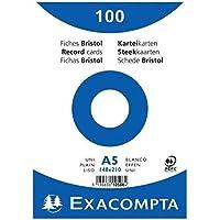 Exacompta 10508E Paquet de 100 Fiches Bristol sous film 14, 8 x 21 cm Uni non perforées Blanches